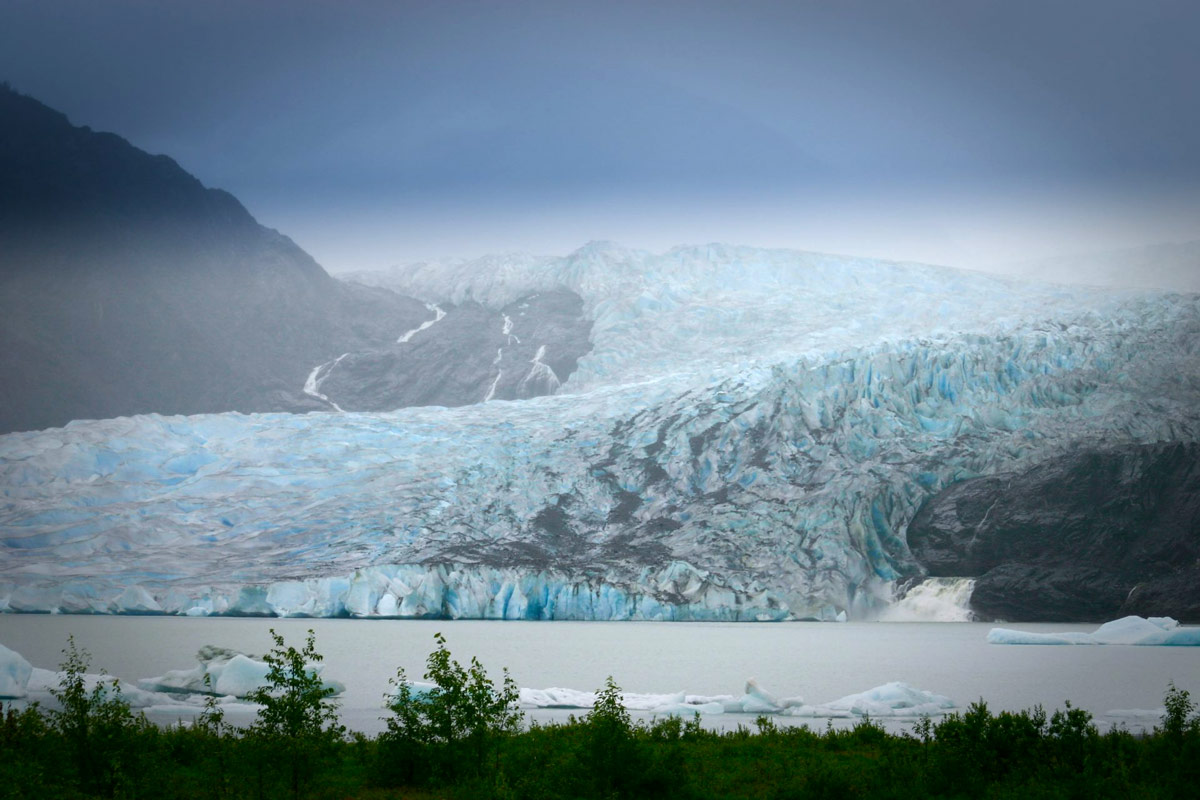 Mendenhall Glacier as viewed from the visitor center viewing platform in Juneau.