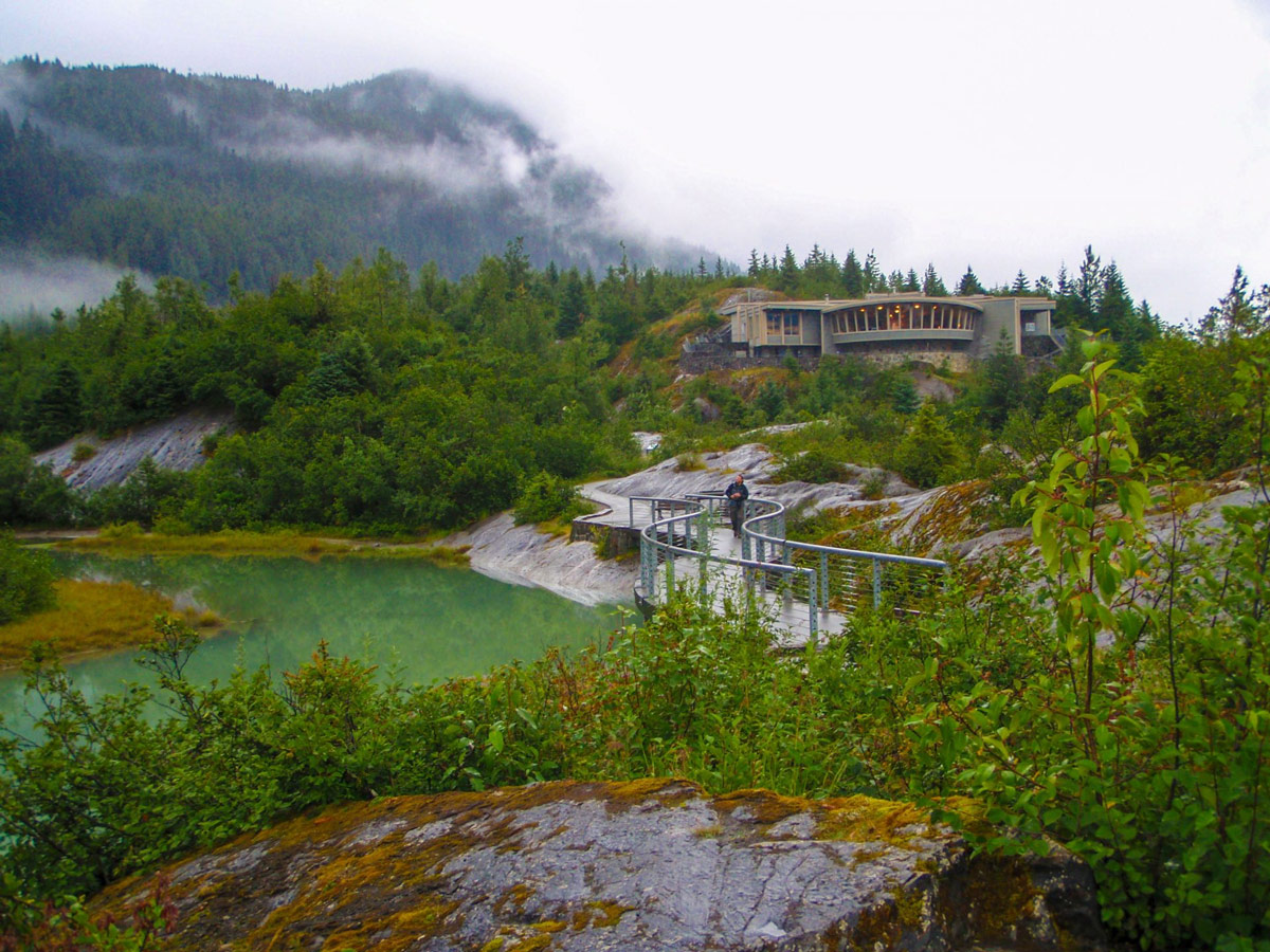 Walkway from the visitor center in Mendenhall Glacier in Juneau.