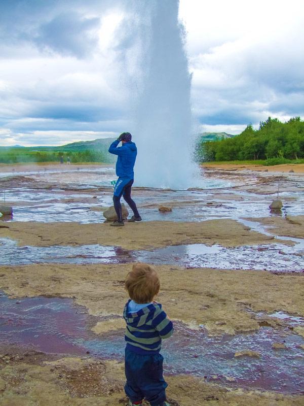 Strokkur Geysir in Iceland erupting on Iceland's Golden Circle Tour with kids