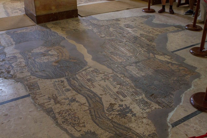 Ancient map of the holy land on a church floor