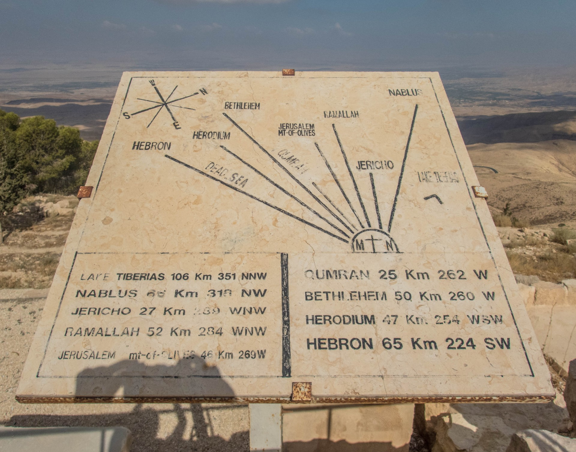 Chart showing the parts of the holy land seen from Mt. Nebo