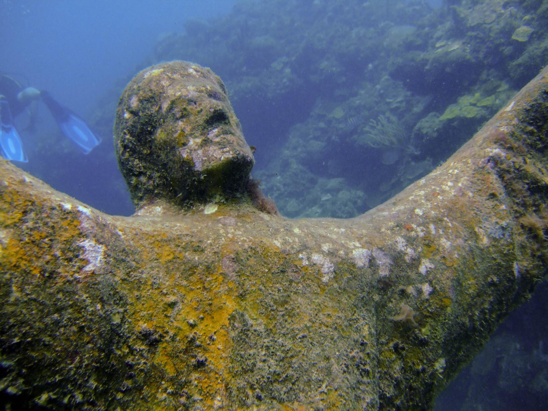Statue of christ in Grenada Underwater sculpture park