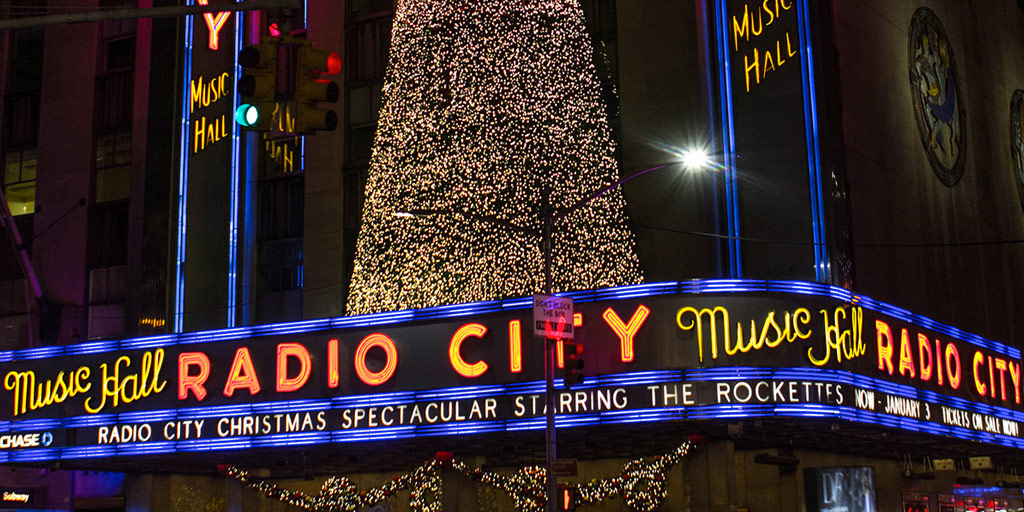 Radio City in Manhattan is lit up with Christmas lights