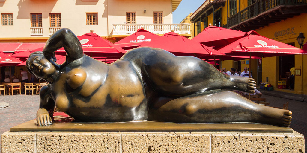 A statue of a reclining nude in Cartagena Colombia
