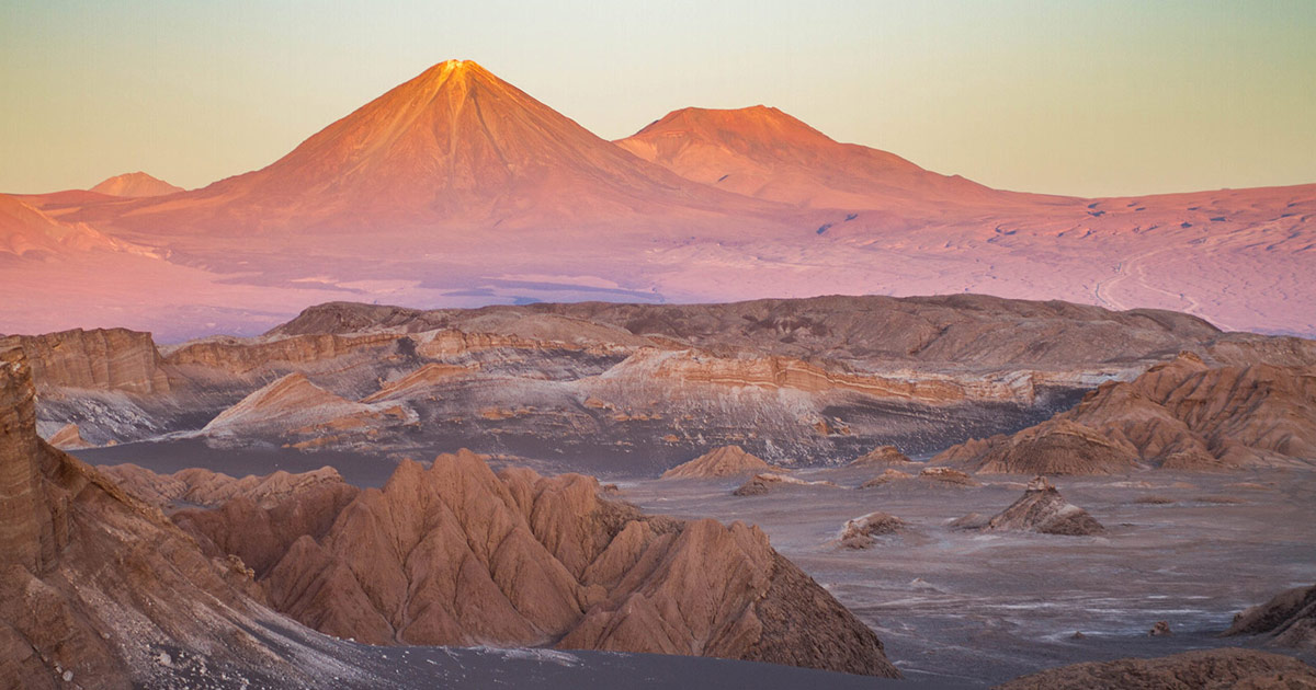 The valley of the dead in Chile lit up by the sunlight