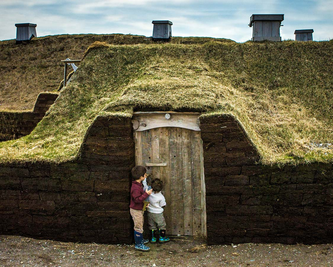 St Anthony Newfoundland - Children exploring l'Anse Aux Meadows in Newfoundland