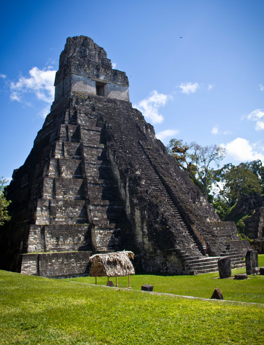 A tall Mayan pyramid with a door at the top stands in a grassy field.