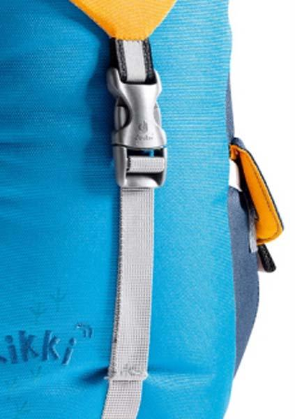 A closeup of the straps on a children's backpack