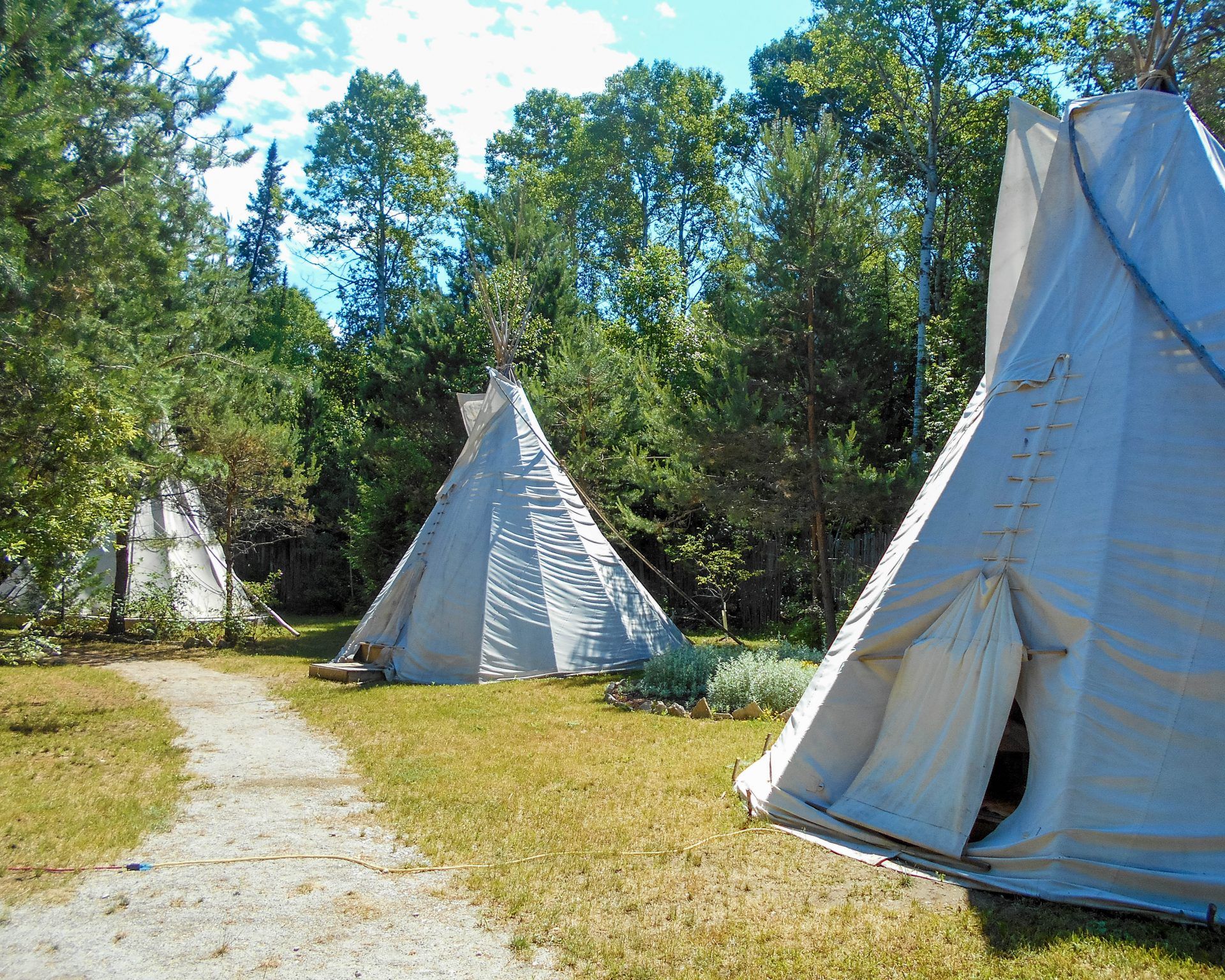 Teepees at the Great Spirit Circle site on Manitoulin Island.