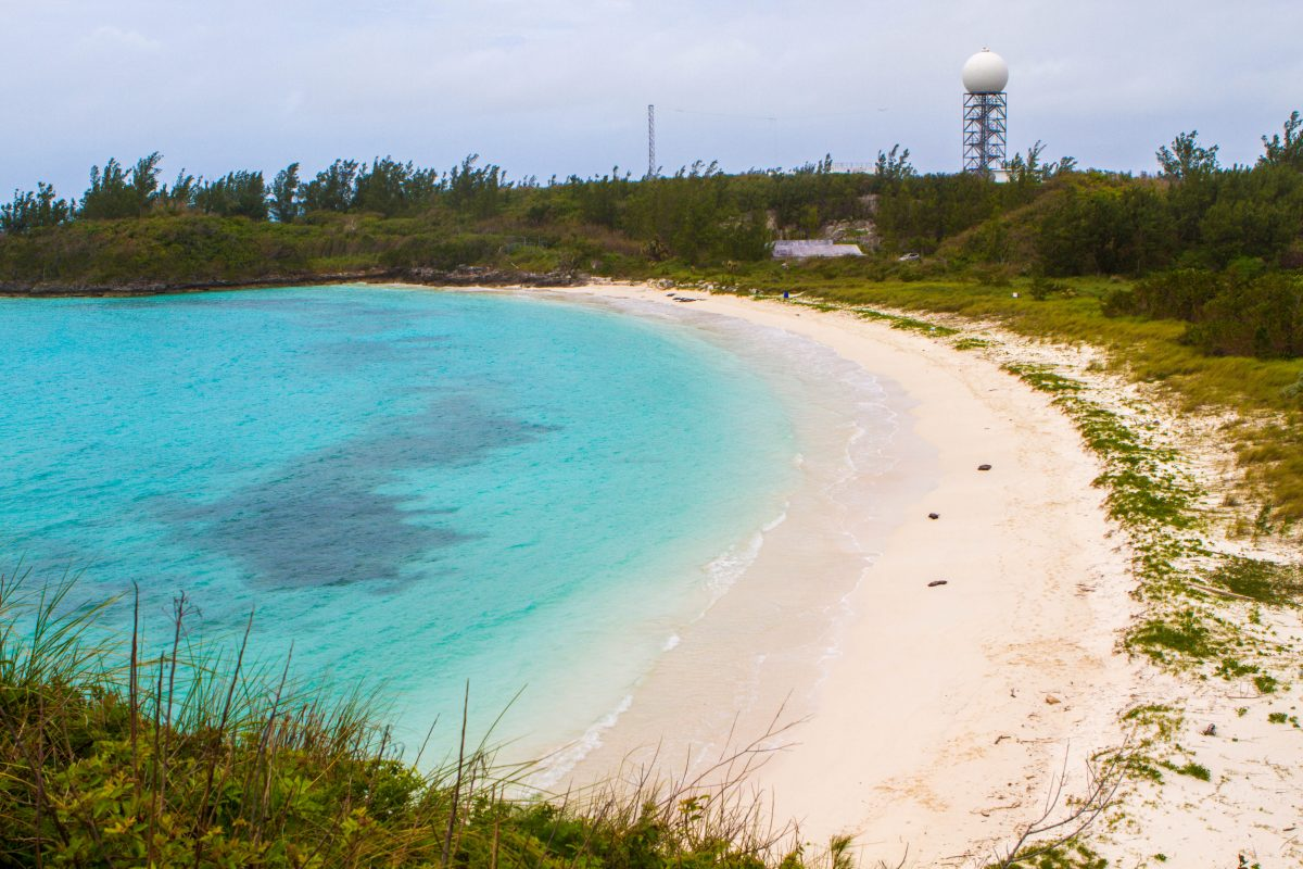 Overview of Long Bay Beach in Cooper's Nature Reserve a Bermuda National Park.