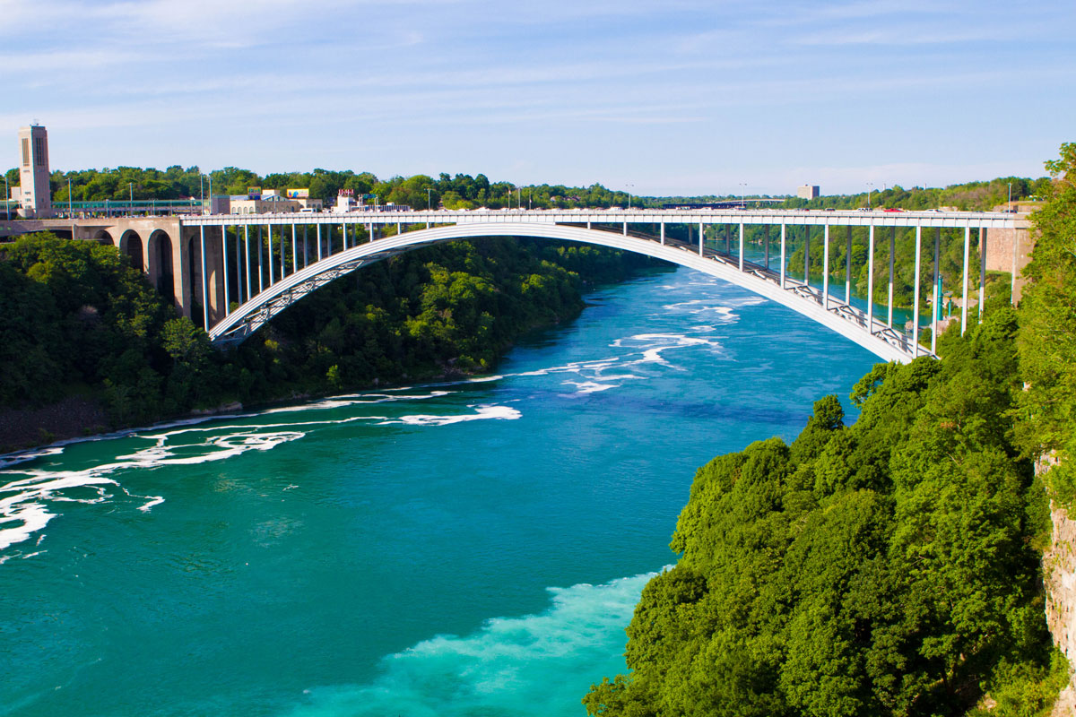 The rainbow border bridge between Niagara Falls, Ontario and Niagara Falls, New York - Exploring Niagara Falls