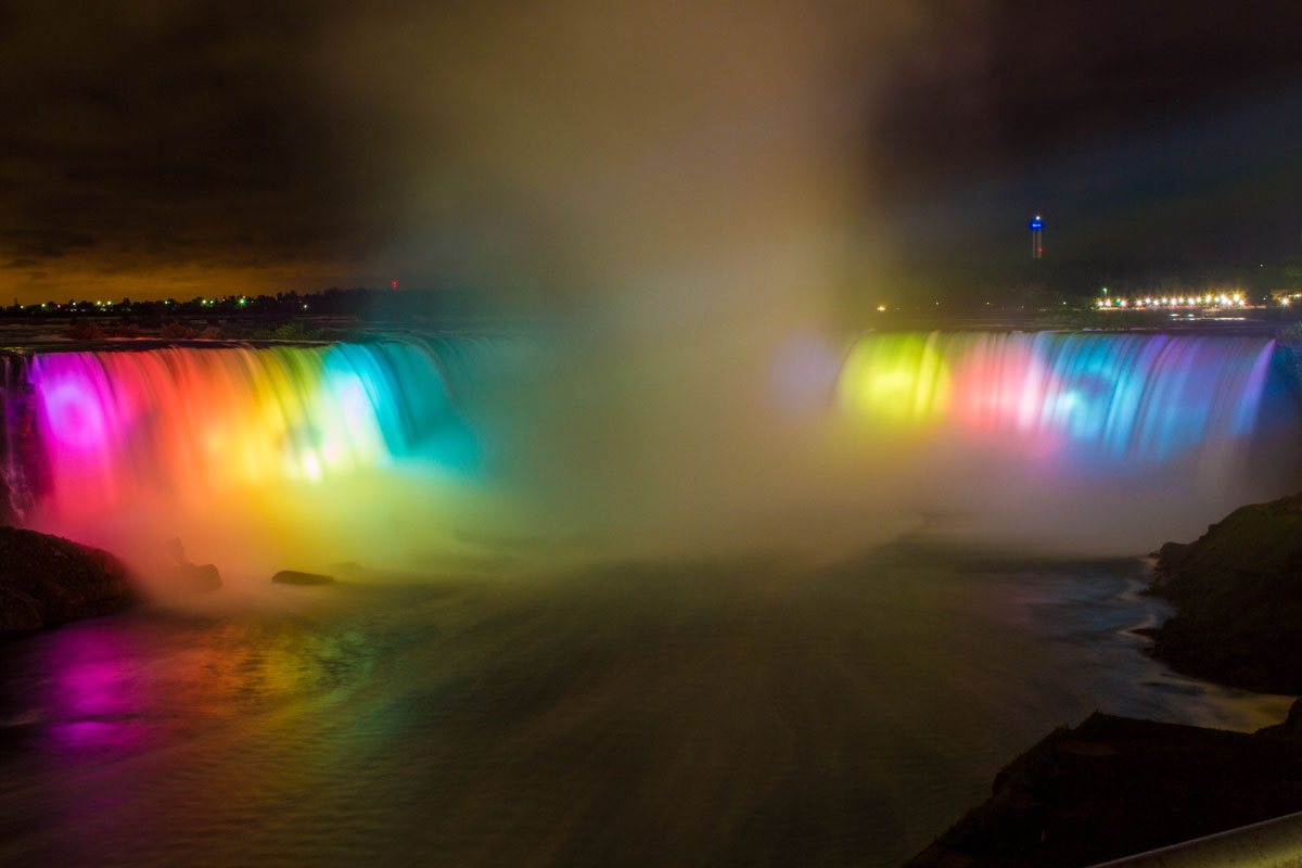 Niagara Falls Horseshoe Falls lit up in a rainbow of colours at night - Exploring Niagara Falls