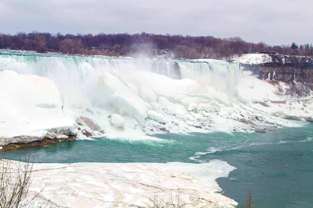 A partially frozen Niagara Falls - Exploring Niagara Falls