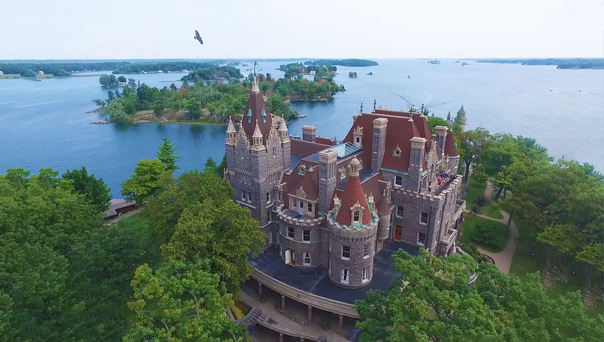 Aerial view of Boldt Castle, one of the two castles in the Thousand Islands National Park.