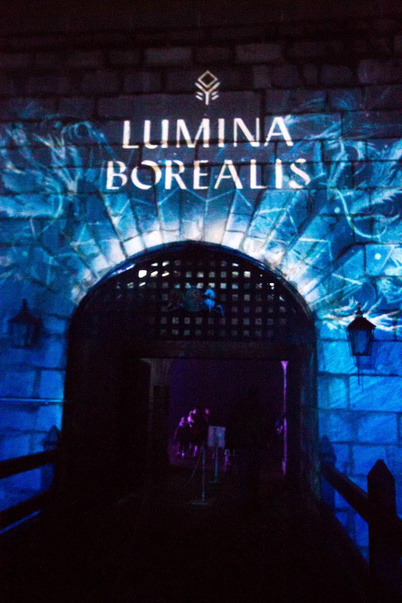 Illuminated entryway at Lumina Borealis Kingston