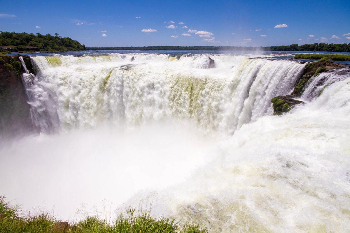 A powerful horseshoe waterfall in Iguazu Park Argentina