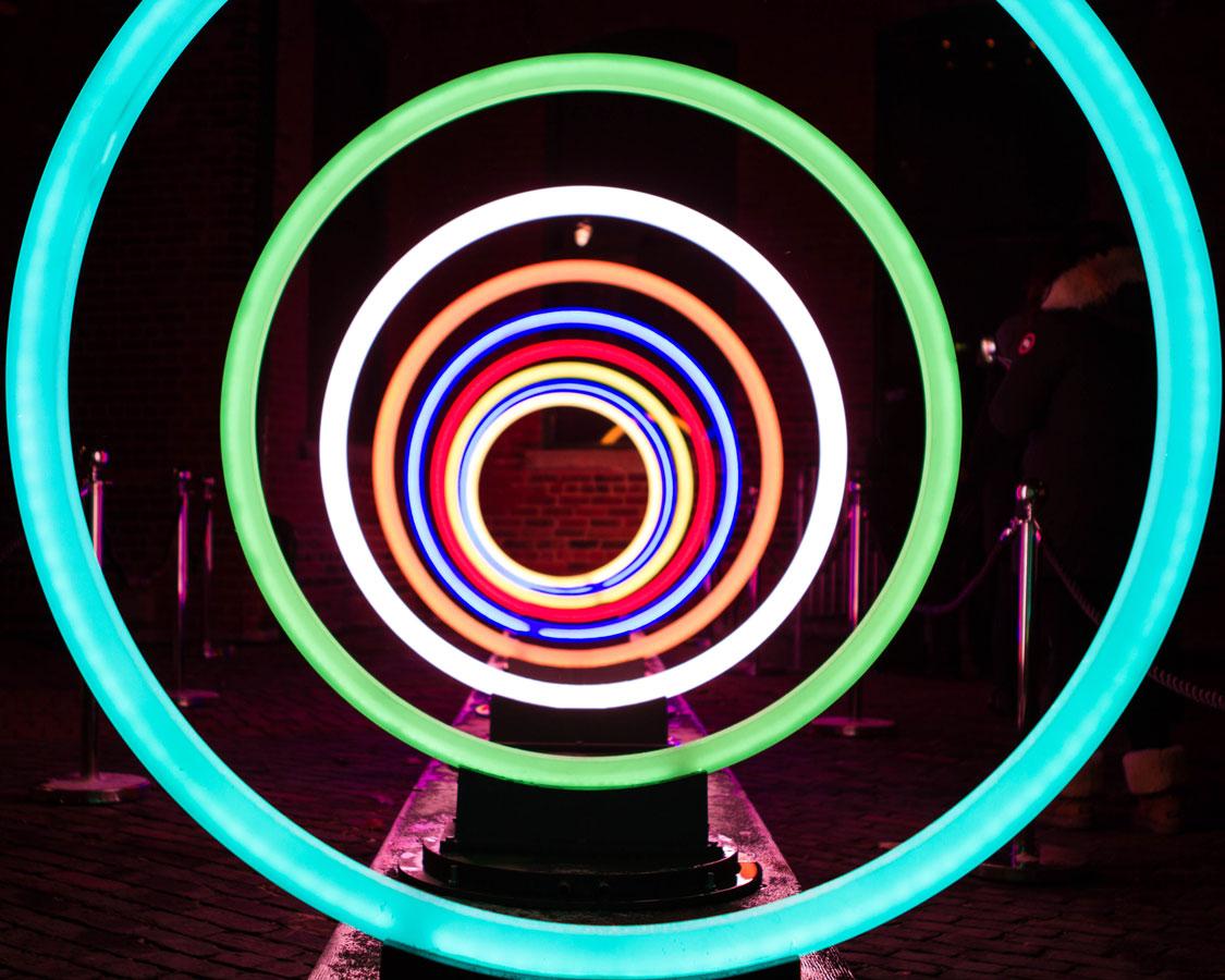 Concentric cirlce light art at the Toronto LightFest
