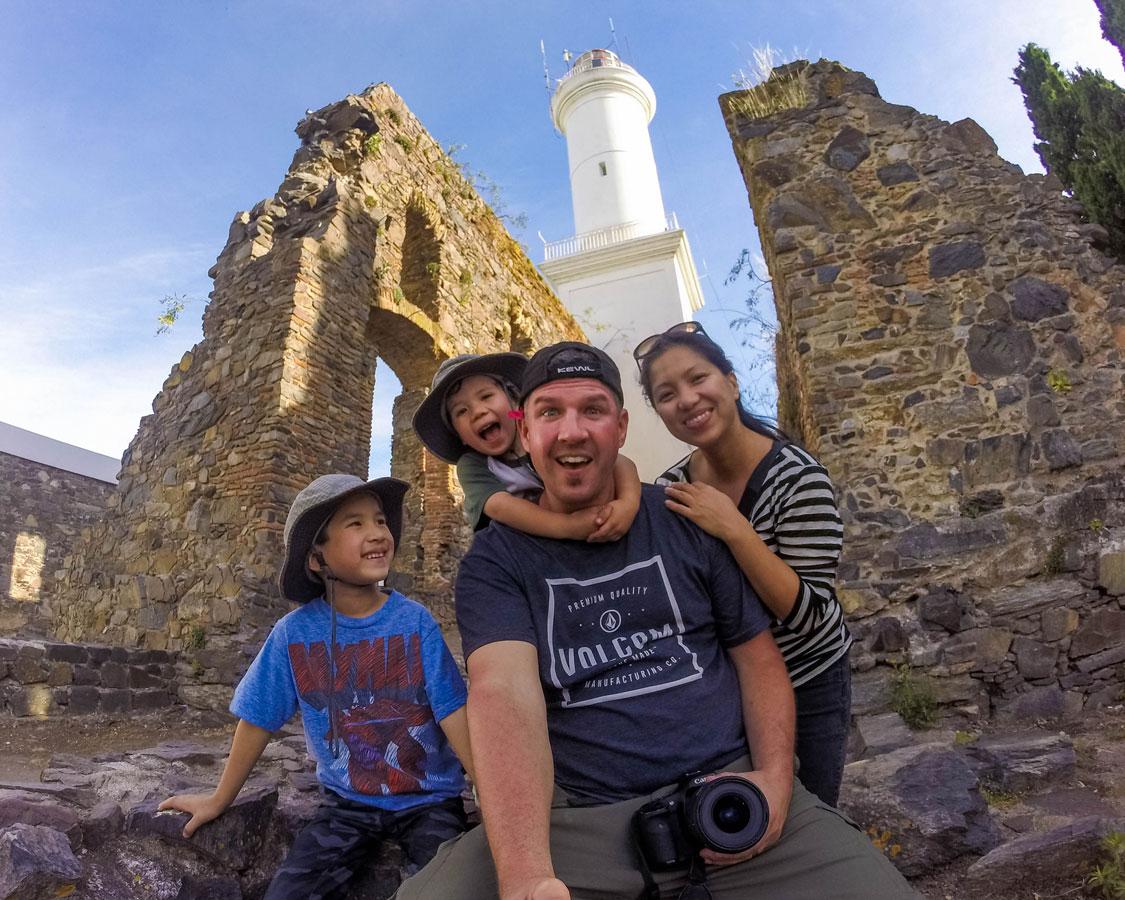 Family poses inside the San Francisco convent ruins in Colonia del Sacramento, Uruguay.