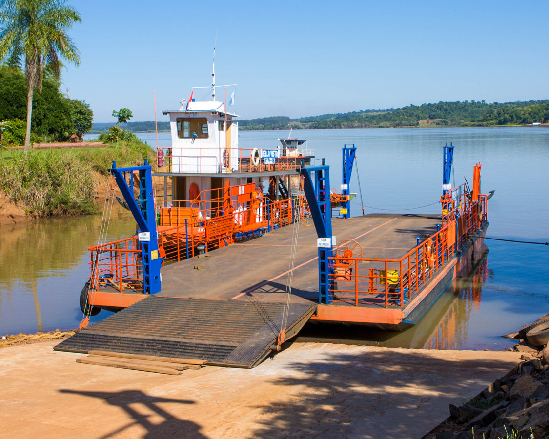 Small ferry ready for cars to be loaded at the Argentina/Paraguay border on the Parana river