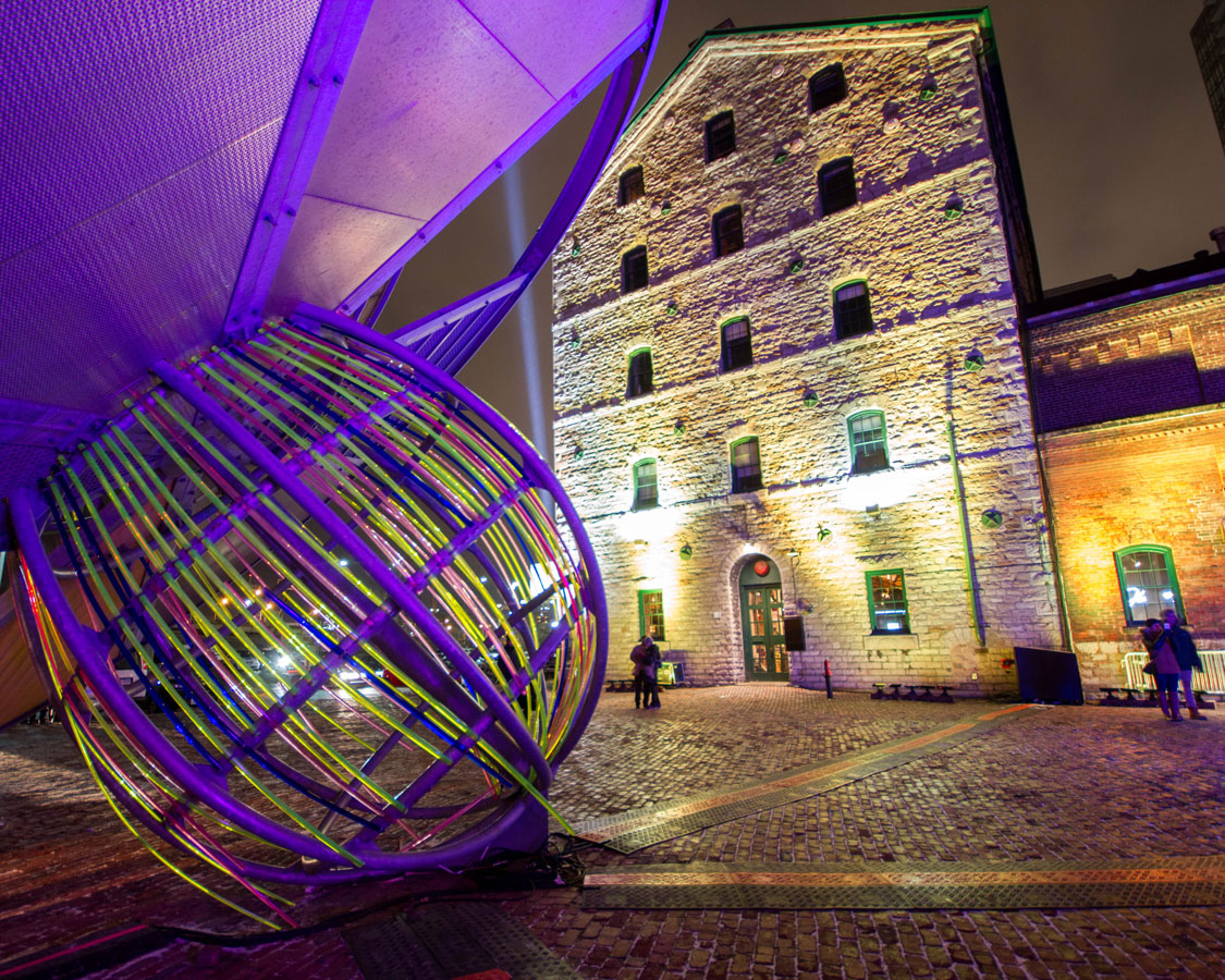 Giant pacifier in the Distillery District during the Toronto Lightfes
