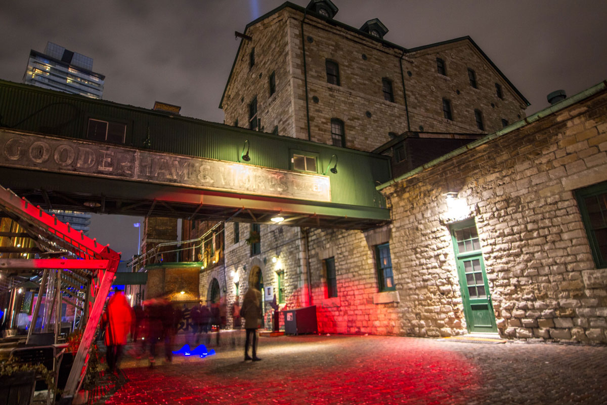 Gooderham and Worts sign in the Distillery District during the Toronto Lightfest