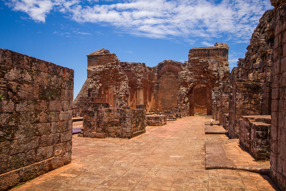 Ruins of schools and workships at the Jesuit mission of la Santisima Trinidad de Parana in Paraguay