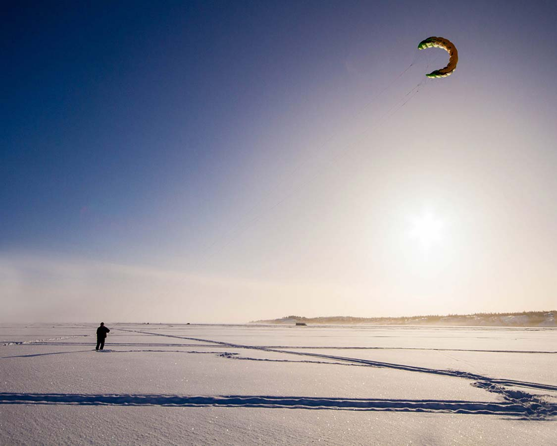 Things to do in Yellowknife in winter - Kite Flying on Great Slave Lake
