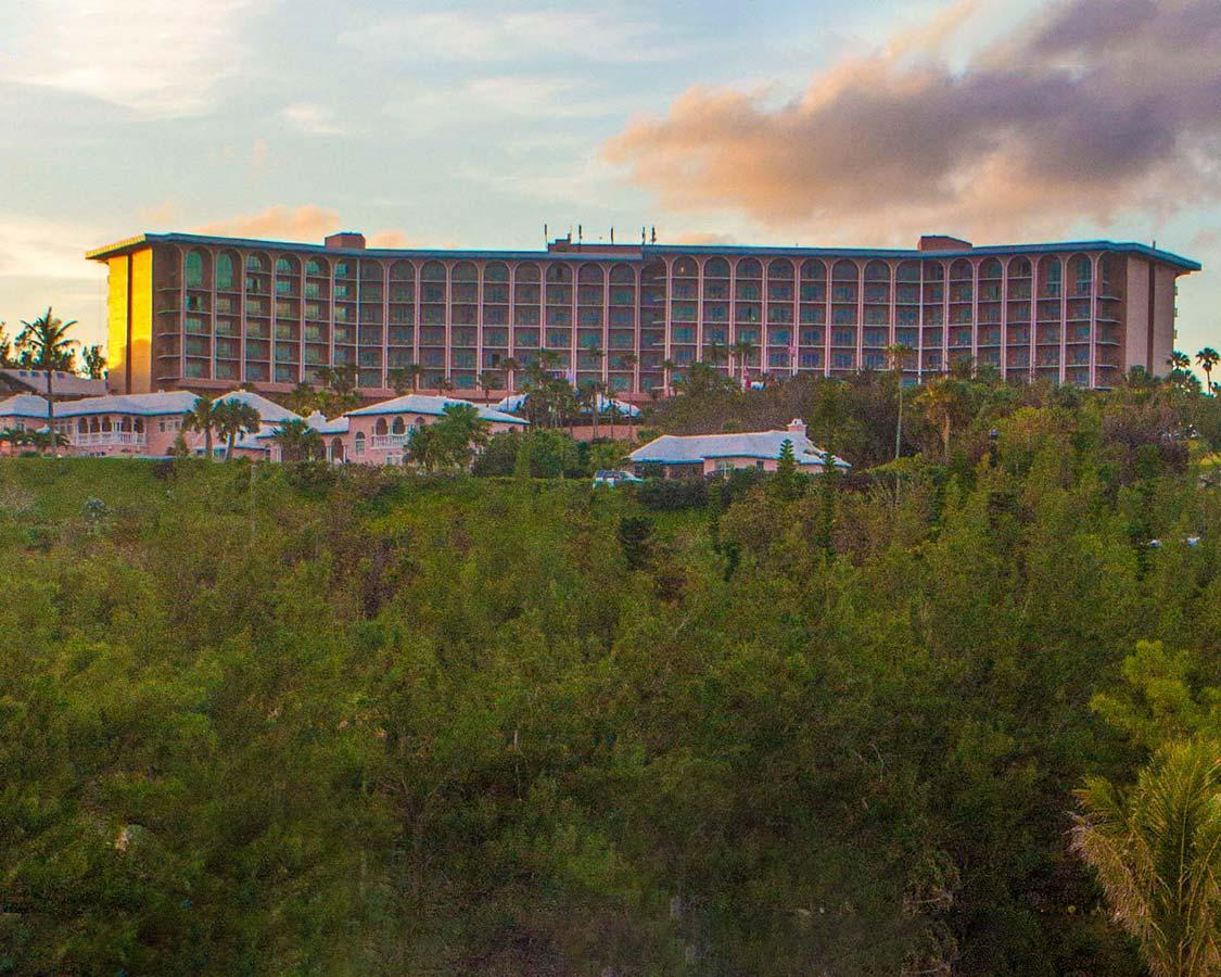 Fairmont Southampton hotel from the best best Bermuda beach Horseshoe Bay Beach Bermuda