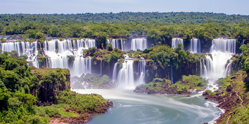View of Iguazu Falls Brazil from the beginning of the Cataratas Trail.