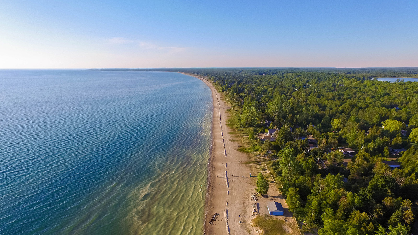 Aerial view of Sauble Beach, Ontario.