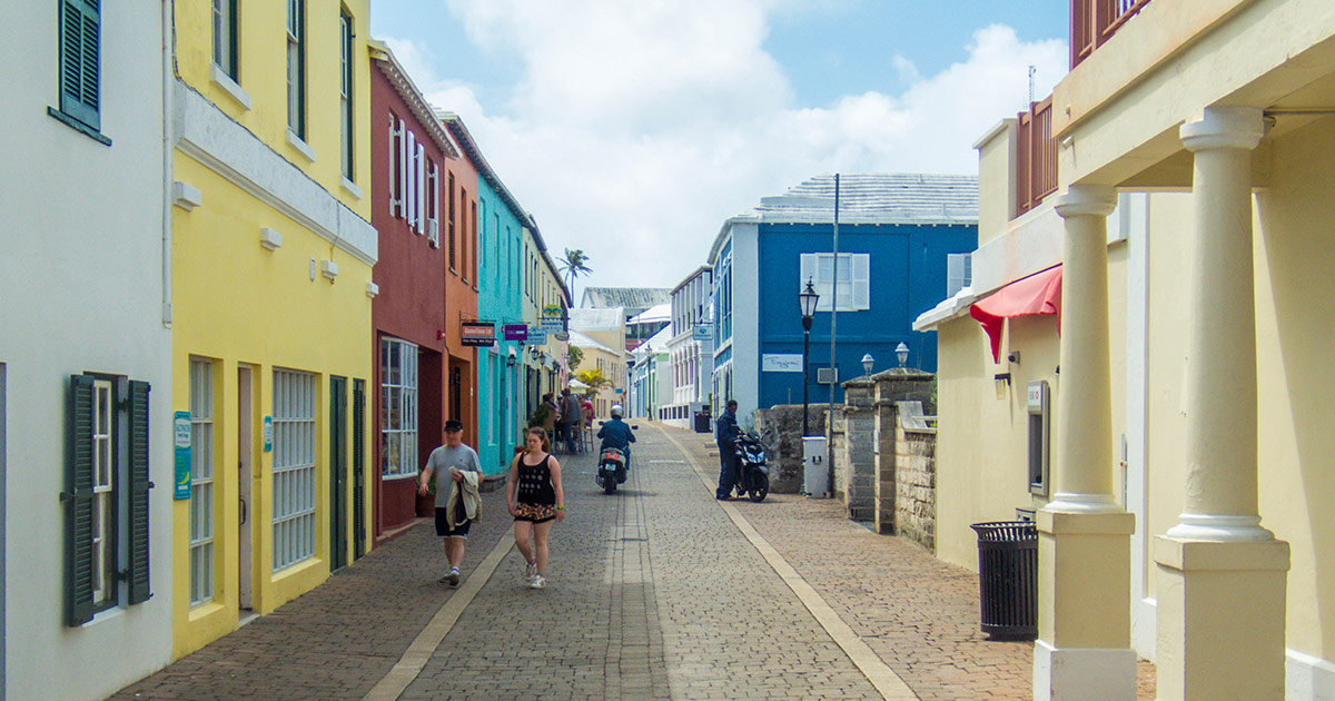 The colorful streets of St. George Bermuda