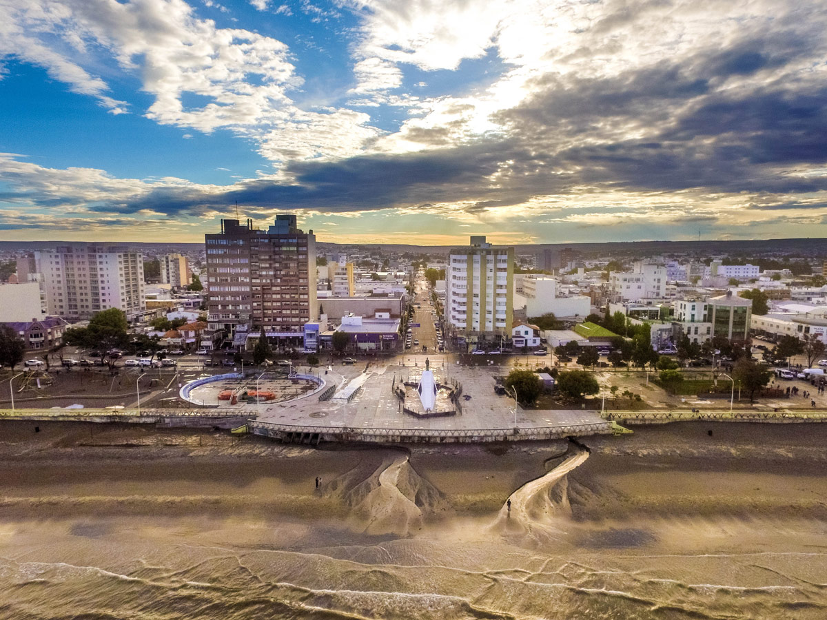 Sunset drone shot of Puerto Madryn Argentina