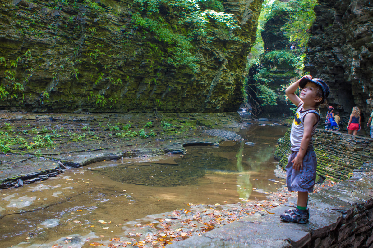 Boy looking up the gorge at Watkins Glen State Park.