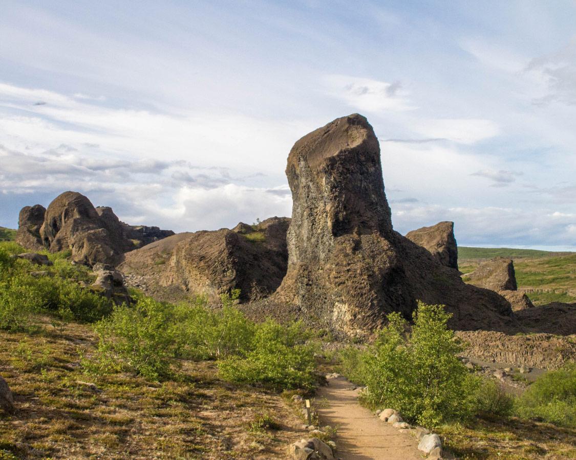 A huge Basalt column known as Kastali the Castle in Vesturdalur Iceland