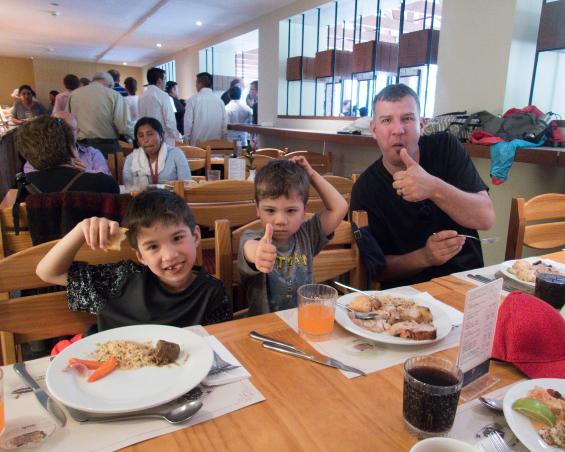 Family having lunch at the Belmond Lodge Sanctuary Restaurant.