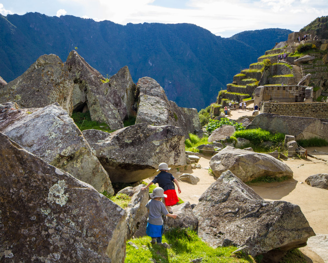 C and D heading to the Quarry in the urban sector of Machu Picchu.