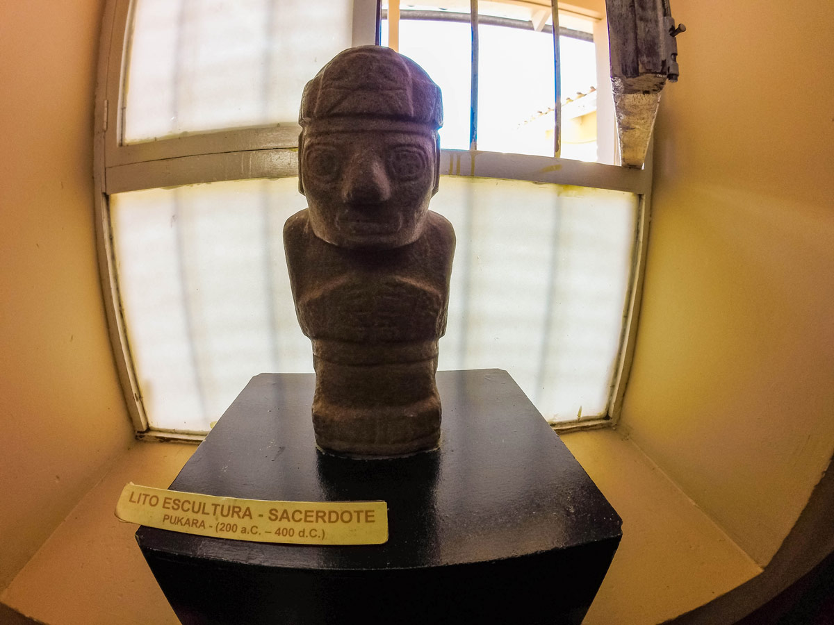 Sculputre at the pre Inca museum in Pukara Peruon the Cusco to Puno bus with Inka Express