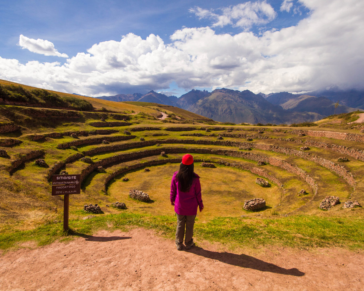 Christina Wagar looks out over the terraces of Moray during a day trip to the Sacred Valley Peru