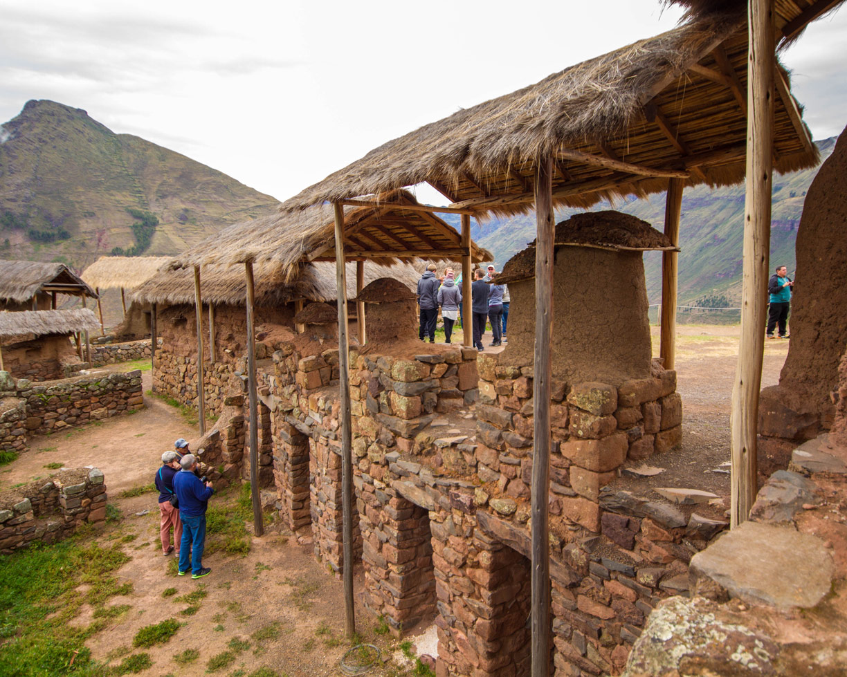 During a day trip to the Sacred Valley Peru, a stop at the Inca ruins in the Pisac Archaeological Park is a must. You can see the ancient stone buildings and mountain terraces