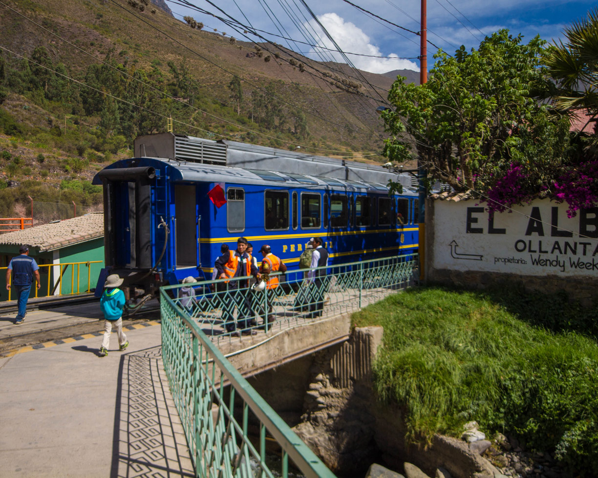 The Ollantaytambo Train Station is the stopping point for those visiting Machu Picchu from a day trip to the Sacred Valley Peru