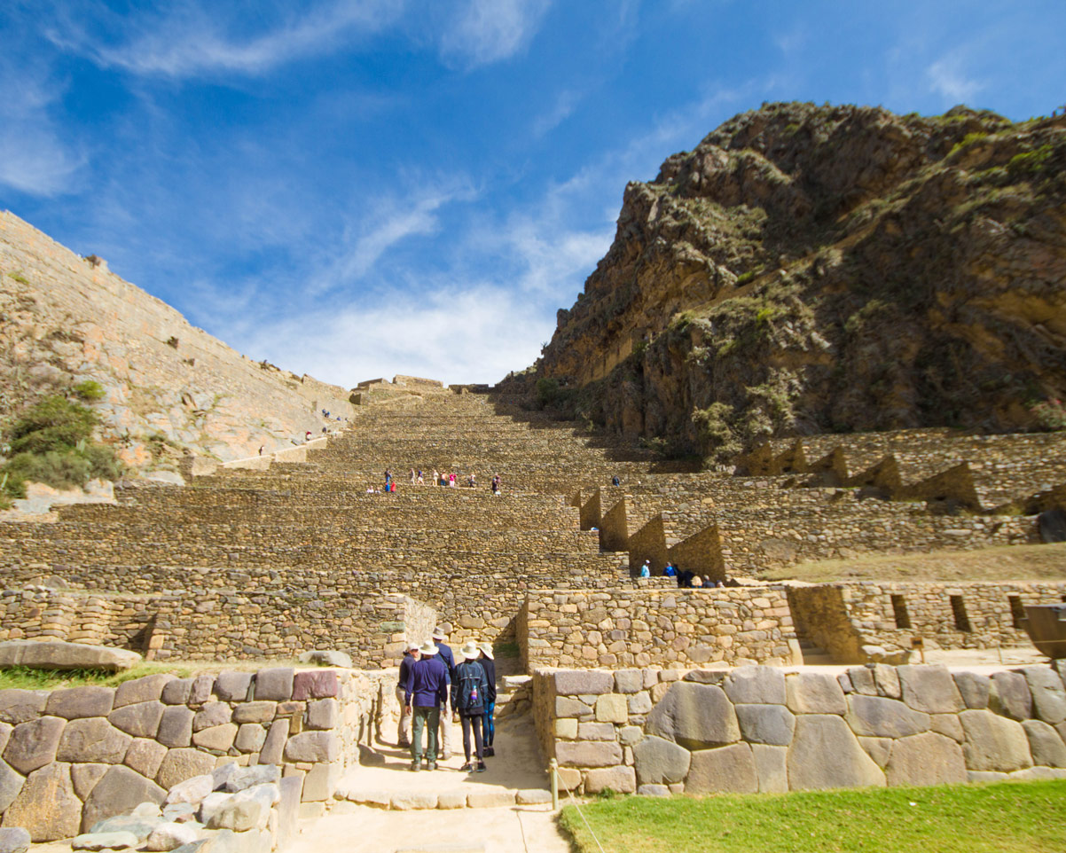 The terraces to the top of Ollantaytambo are a popular climb during a day trip to the Sacred Valley Peru
