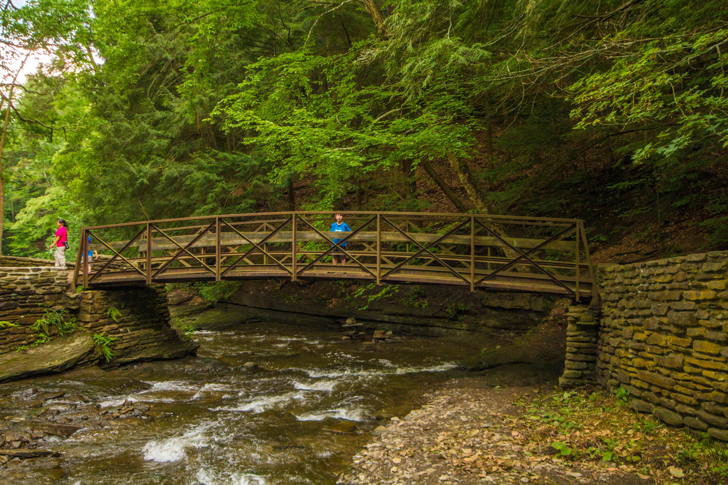 A young boys stands on a metal bridge over a rushing creek Upper Wolfs Creek in Letchworth State Park in New York State