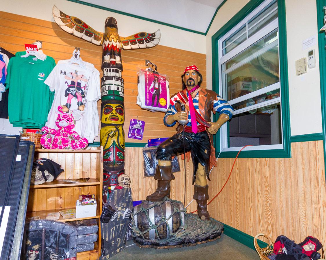A Pirate statue in the Muskoka Steamships ticket office in Gravenhurst Ontario