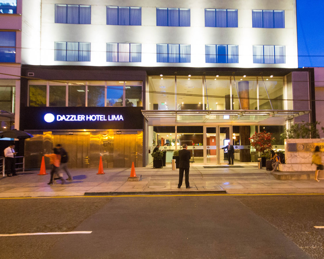 Dazzler Lima Hotel in Miraflores From the street is where we stayed during our two weeks in Peru with kids