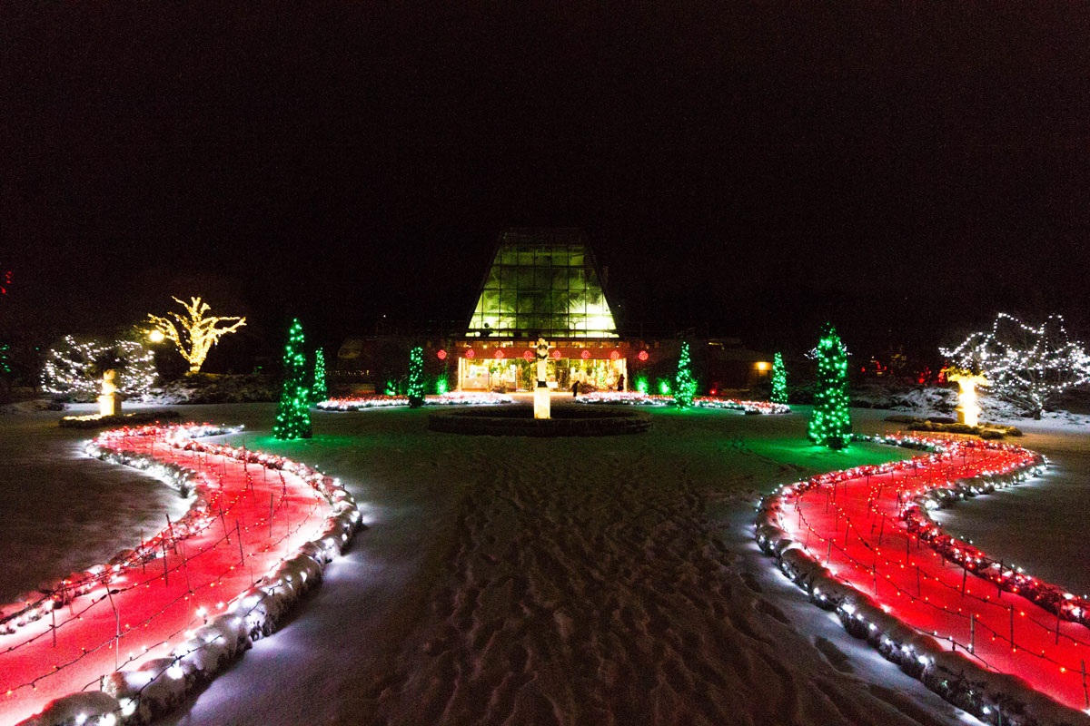 Niagara Falls Floral Showhouse lit up for the Winter Festival of Lights on during winter in Niagara Falls Ontario