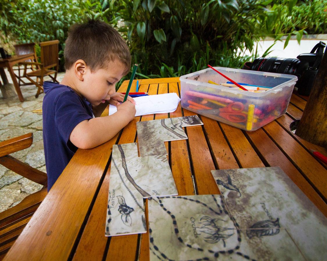 Taking part in a treasure hunt at InkaTerra Hotel in Machu Picchu Pueblo Hotel in Peru with kids on a 14 day Peru itinerary