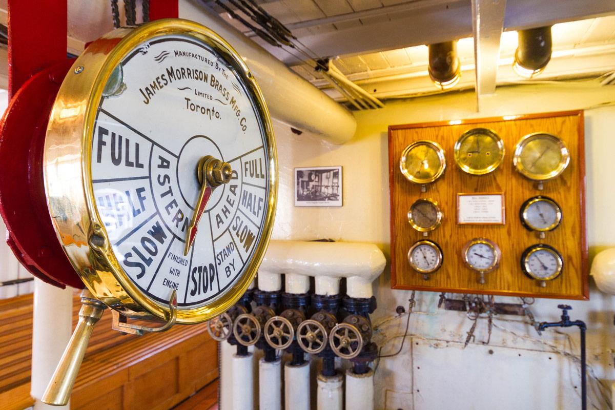 The engine room of the Lake Muskoka Steamship RMS Segwun in Gravenhurst Ontario