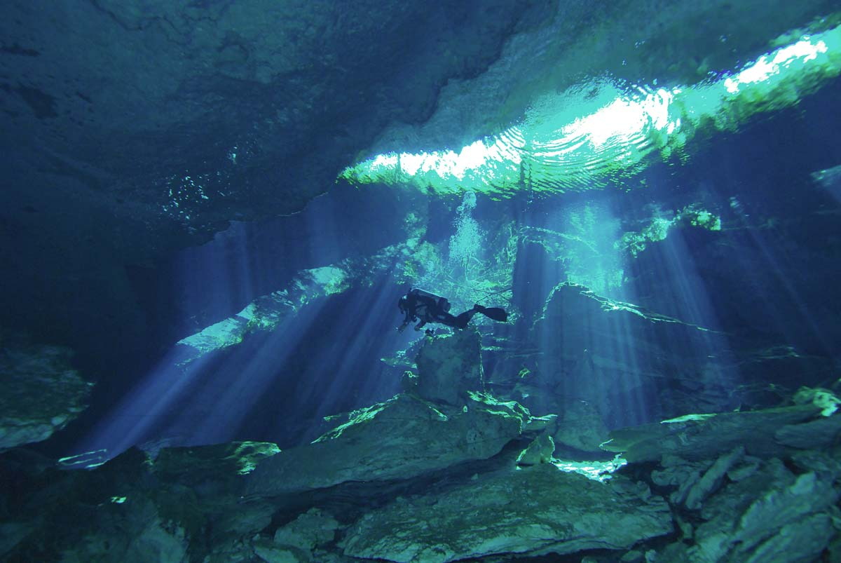Diving Dos Ojos Cenote Photo by Cesar Velasco Fisheye Productions