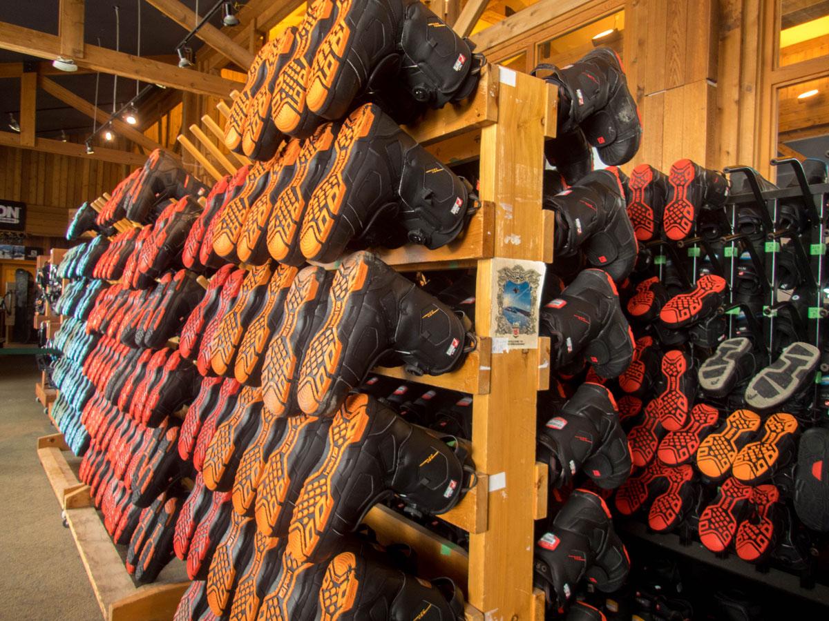 A rack of Ski Boots at a Ski Resort on a Japan Ski Holiday