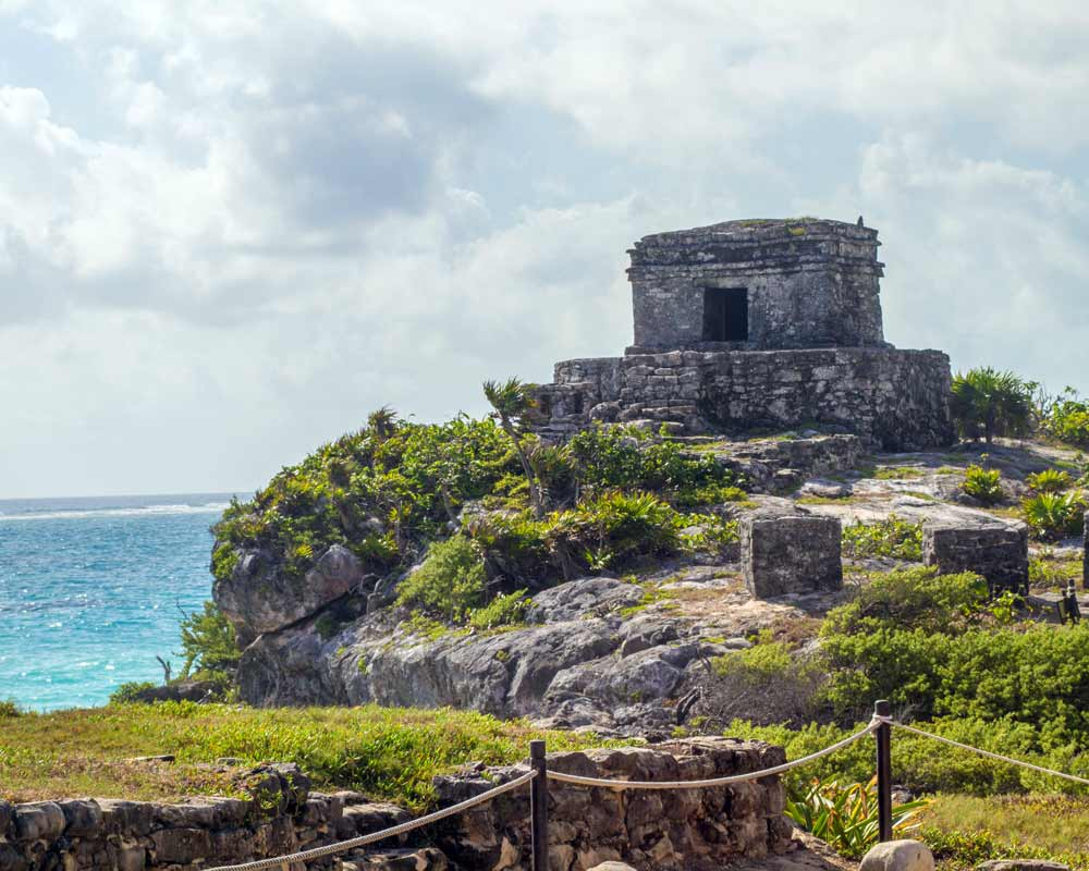Temple of the Diving God in Tulum Mexico with kids